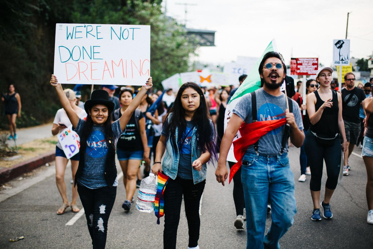 Dreamers march in support of DACA at a rally in Los Angeles.
