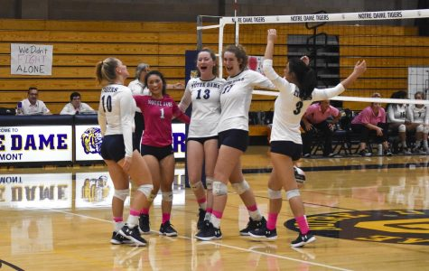 Volleyball plays Dig Pink