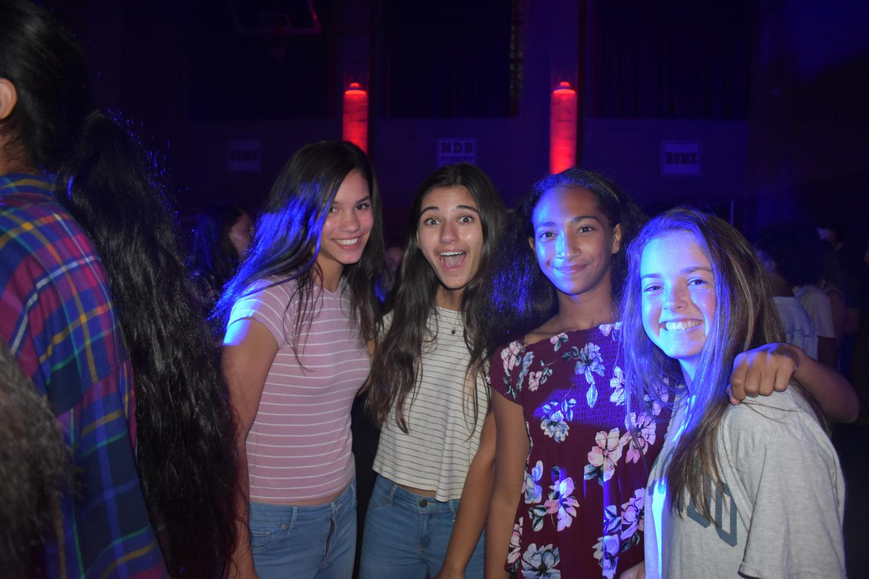 Freshmen friends smile at the Frosh Social.