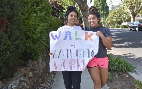 Juniors show off a banner during the walk.