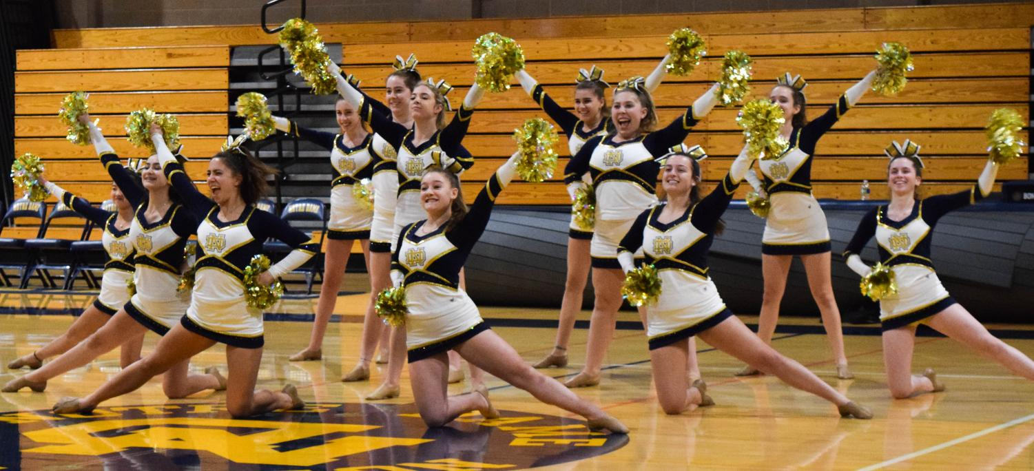 The pom team performs for the student body at the raffle assembly.