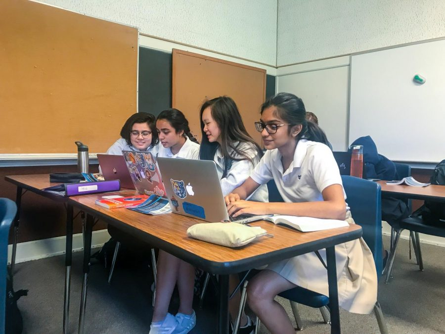 Juniors Jade Costello, Abiya Baqai, Felicia Wei, and Vineela Vandanapu collaborate on an assignment.