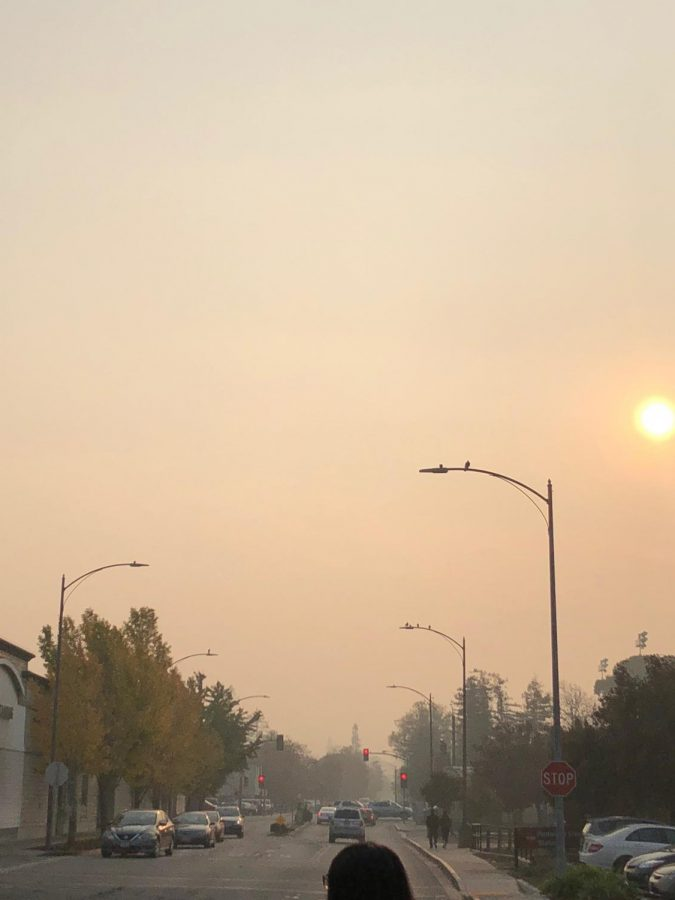 Smoke fills the afternoon sky in Belmont.