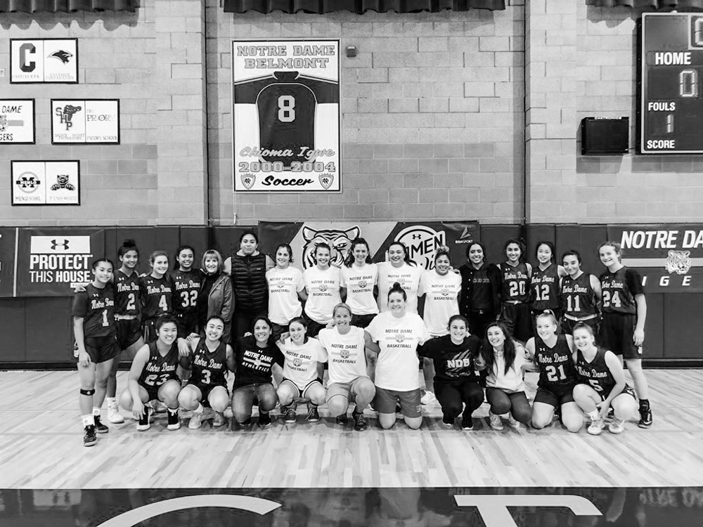 Alumnae return to play in the annual alum basketball game.