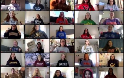 Many of the seniors gather on Zoom for the school's annual senior college sweatshirt photo.