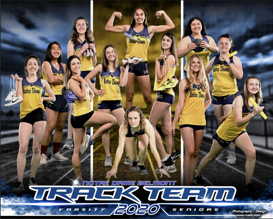 Senior+track+and+field+athletes+are+featured+on+the+annual+banner+that+hangs+in+the+Moore+Pavilion.