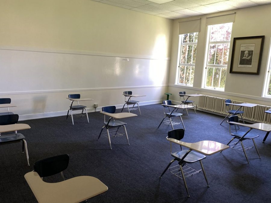 An NDB classroom has desks distanced six feet apart from each other in preparation for a safe reopening.