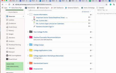 NDB College Counselor Dina Cunha has created a Schoology page for seniors that contains helpful information in the college application process.