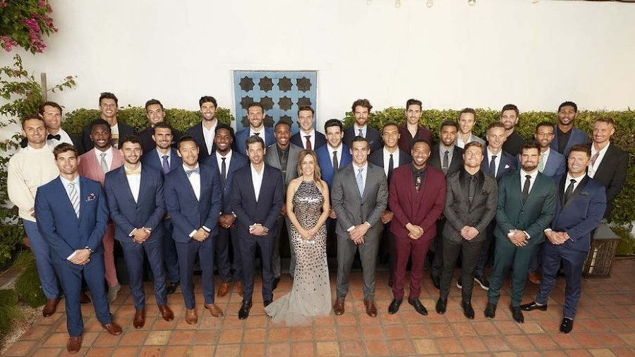 Bachelorette Clare Crawley with her 31 bachelors, all fighting for a chance to win over her heart.