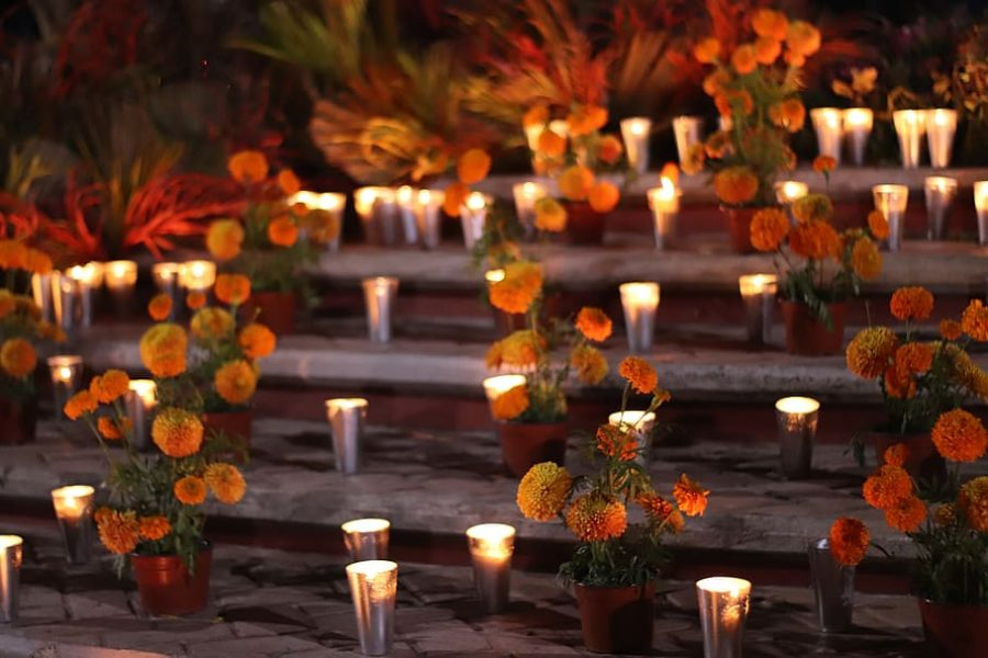 Traditional candles and marigolds