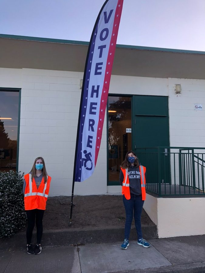 NDB+juniors+Angelina+Chopoff+and+Payton+Peters+volunteered+at+the+polls+in+Daly+City+on+Election+Day.
