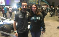 Soracco at the 2019 NHL All-Star Fanfest  with famous Canadian race car driver, James Hinchcliffe.