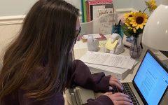 NDB student Mia Muzzi, doing class via Zoom.