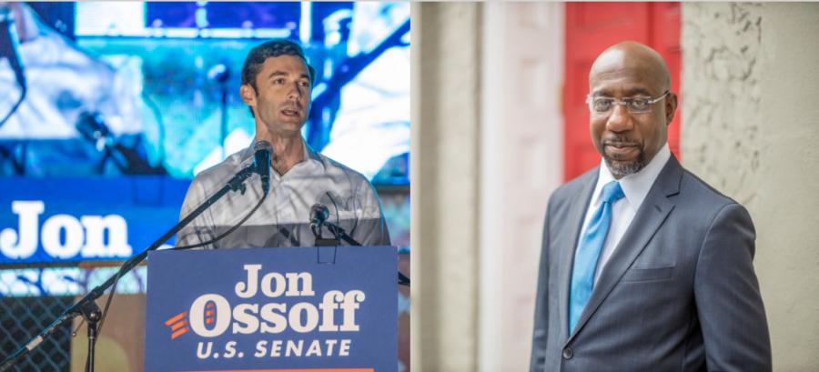 Democrats Jon Ossoff (left) and Rev. Raphael Warnock (right) won the Georgia Senate runoff elections.