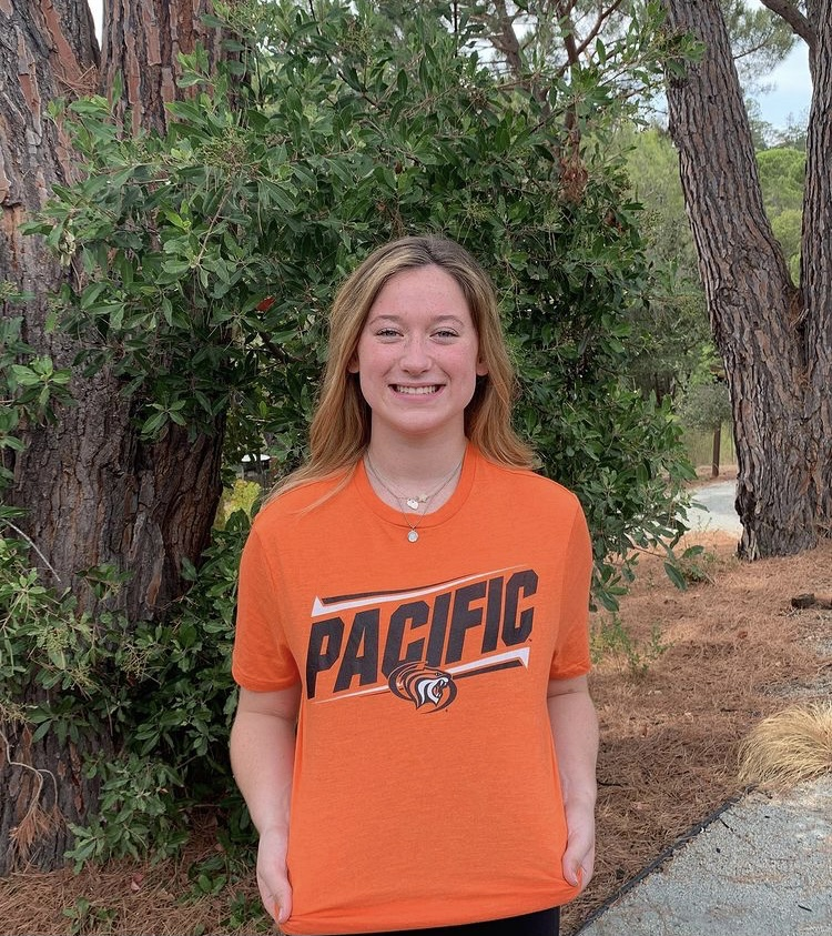Senior Abby Miller in her University of the Pacific gear.