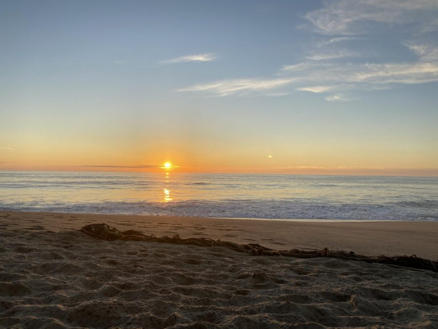 A sunset over the water on Pacifica State Beach.