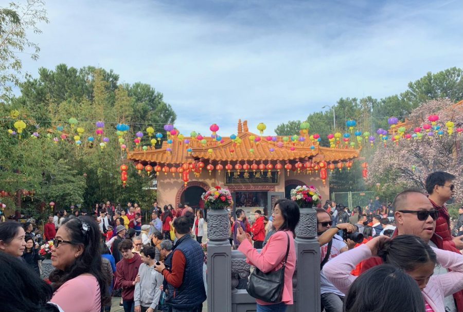 People go to the local Chinese temple during the New Year time.