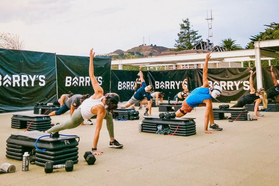 Barry's Bootcamp outdoor workout class in San Francisco.