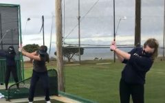 NDB golfers Savvy Sweet, Hannah Nebres, and Vicki Samaras practicing driving at Mariners Point golf course.