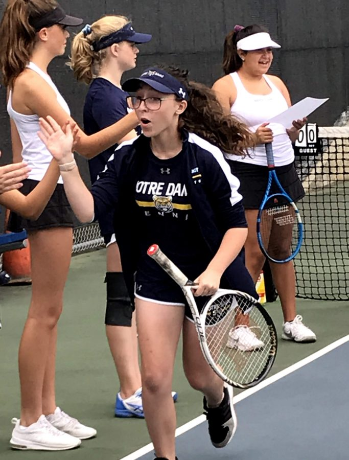 Sophomore Peterson getting ready for her tennis match last season.
