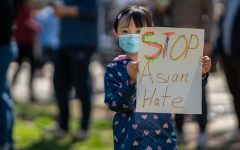 Protestors speak out against Anti-Asian hate crimes in the United States.