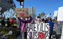 Seal Beach's Leisure World residents gather to protest against AAPI hate crimes and discrimination.