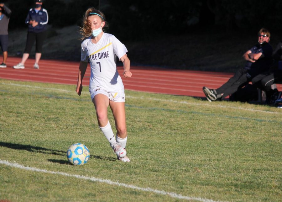 In a recent game in this season, Roche is focused when she has the ball.