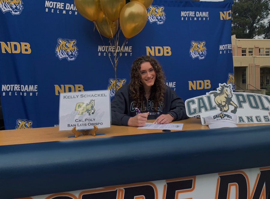 Schackel smiles on NDBs Signing Day as she commits to Cal Poly SLO.