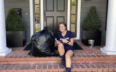 Senior Maddie Perry shows off the collected donations for her passion project, @ProjectMMD