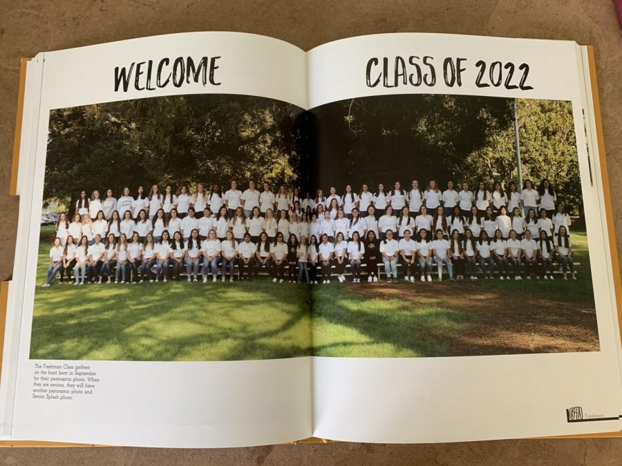 The Class of '22 pictured for the first time as a class at their freshman orientation in the 2018-2019 school yearbook.