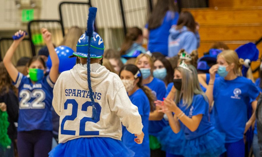 The Senior Class of 2022, also known as the Spartans, show off their class spirit during the first rally.