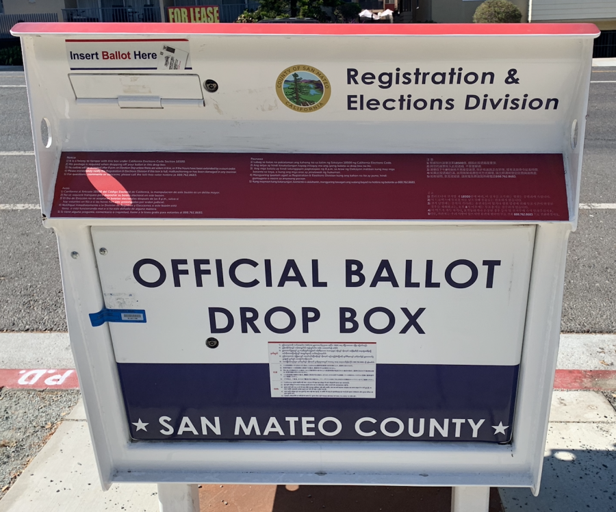 Ballot drop box for the California gubernatorial recall election in San Mateo County.