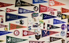 The Counseling Center is covered in flags representing many of the colleges that visit.