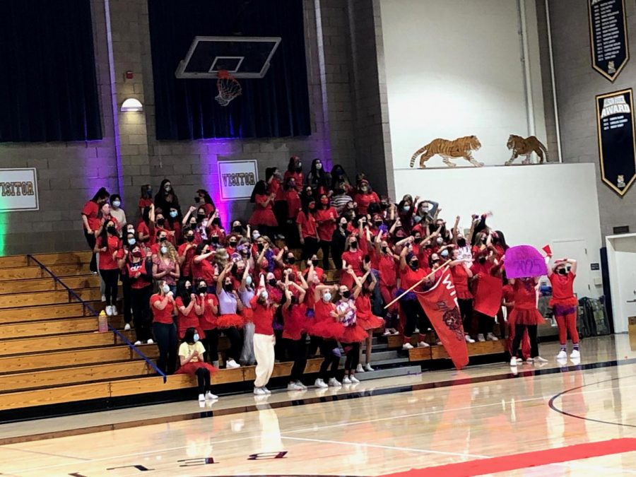 The Wildcats support their Monarch sisters in the first rally.
