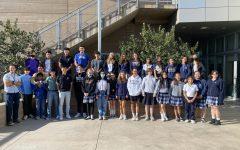 The Tri-School choir poses for a photo.